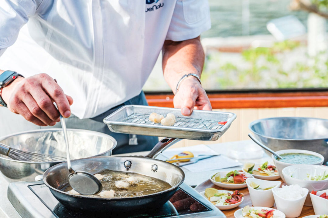 BlueNalu chef cooking cell-based seafood products