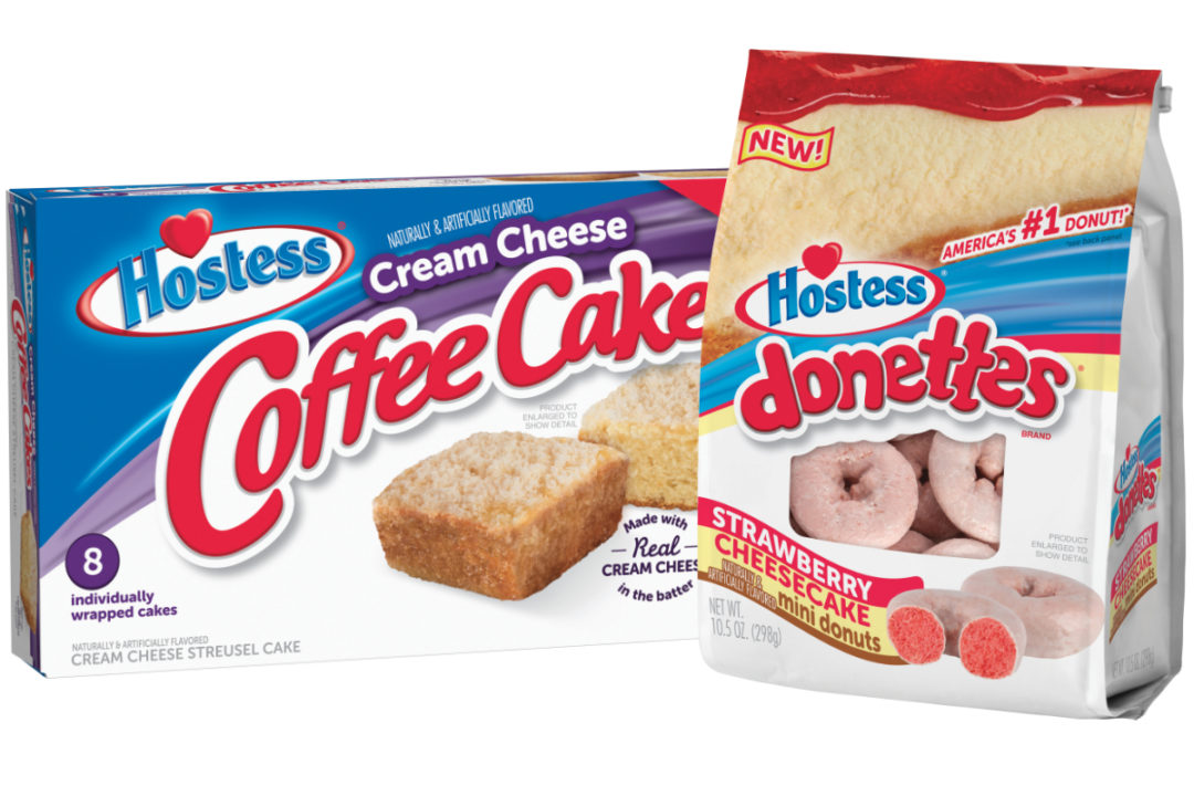 Hostess strawberry cheesecake flavored Donettes and cream cheese Coffee Cakes