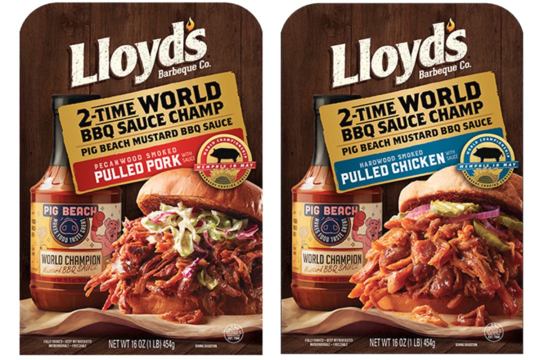 Lloyd's pecanwood smoked pulled pork and hickory hardwood smoked pulled chicken made with Pig Beach Mustard BBQ Sauce