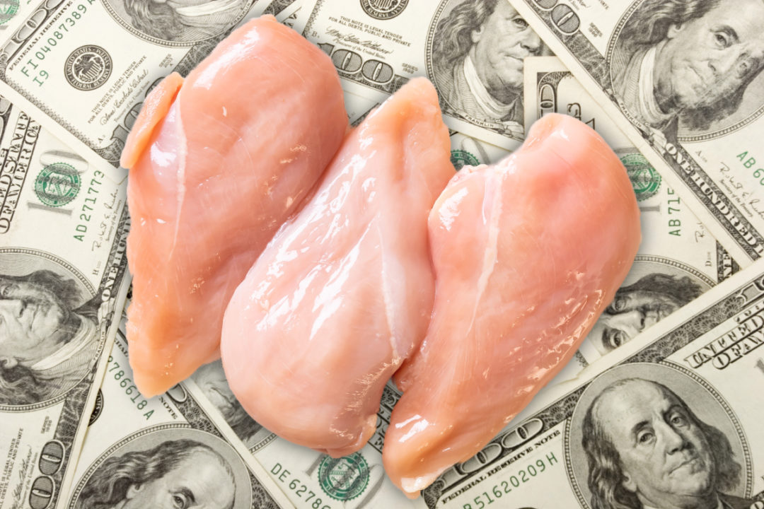 Money and raw chicken