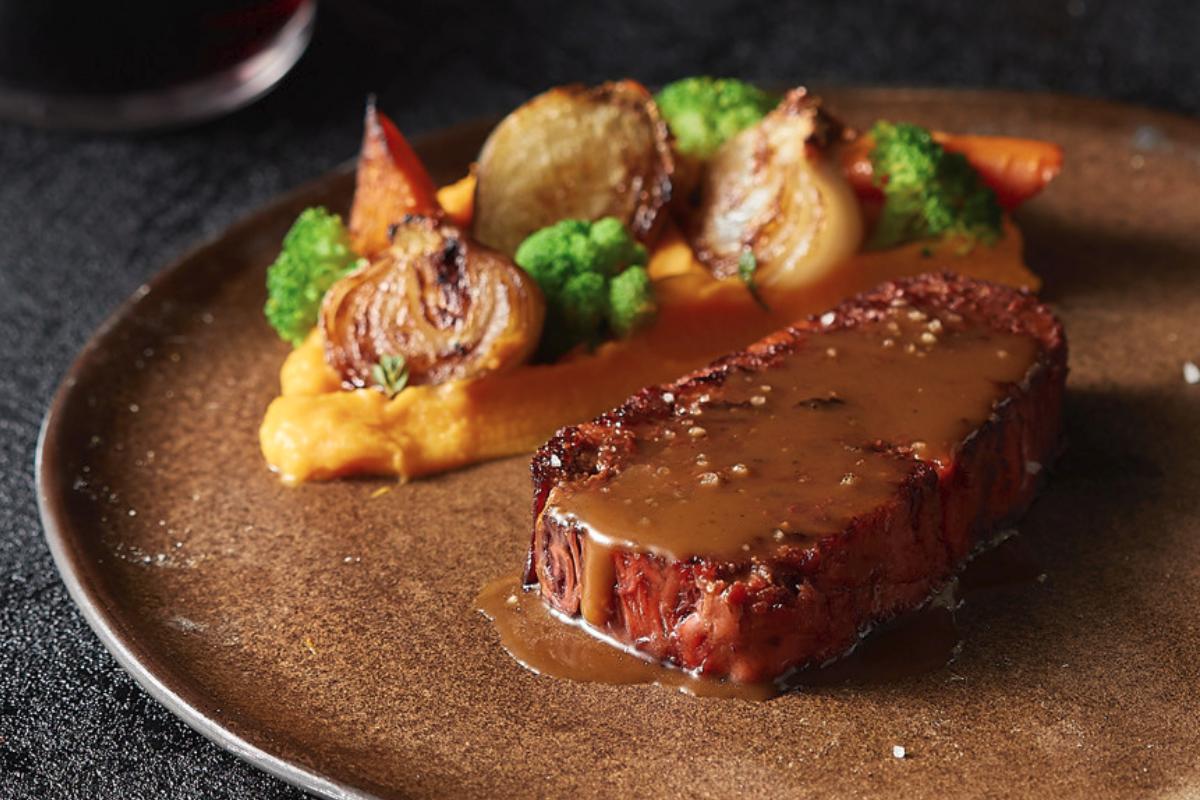 Redefine Meat 3D printed Alt-Steak with gravy