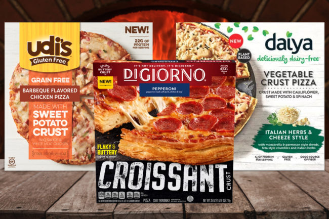 Udi's Sweet Potato Crust Pizzas, DiGiorno Croissant Crust Pizza and Daiya Vegetable Crust Pizzas