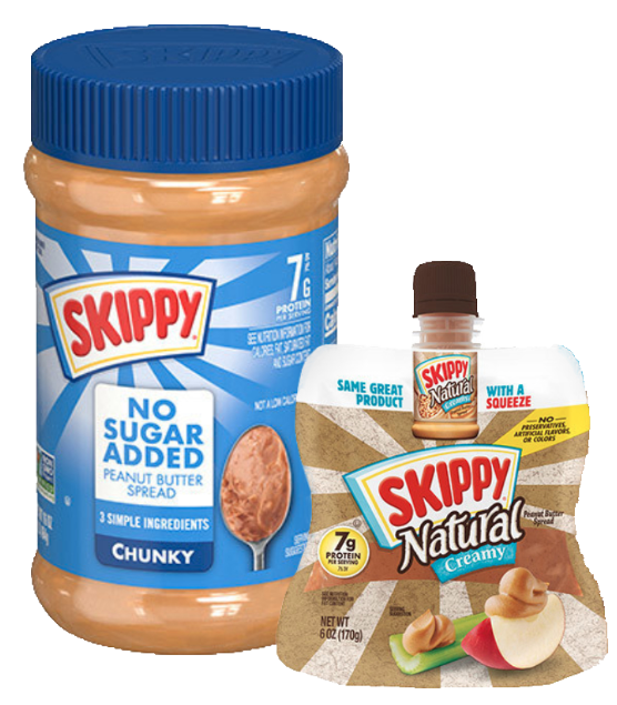 Skippy prtein peanut butter and squeezable puches