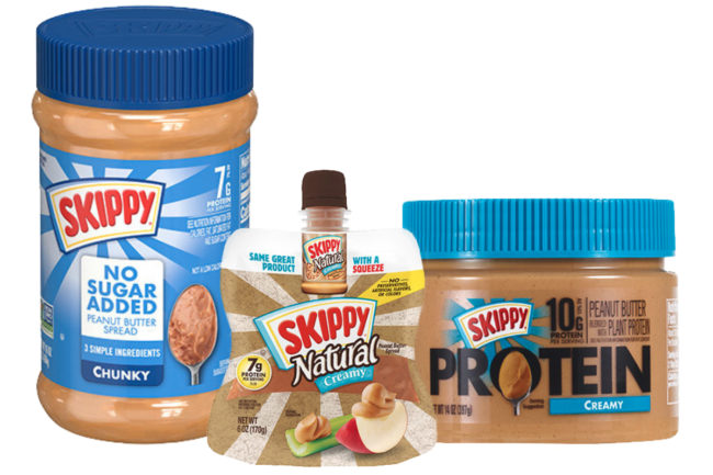 Skippy squeeze peanut butter and peanut butter spreads, Skippy no sugar added peanut butter spreads, and Skippy added protein peanut butter
