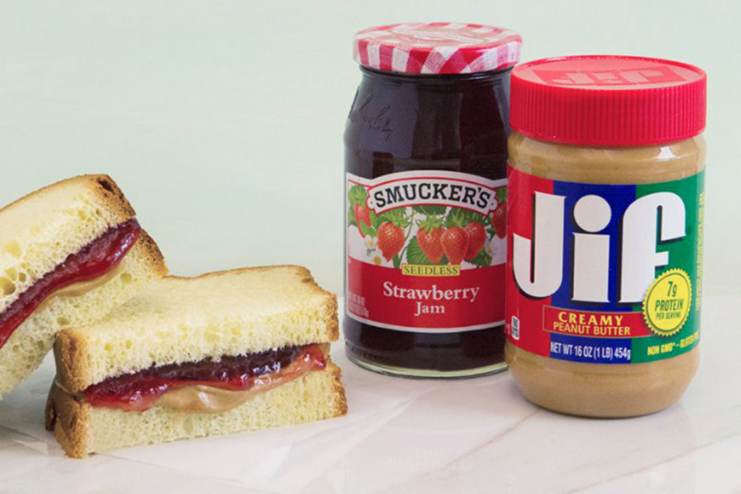Smucker's jam and Jif peanut butter