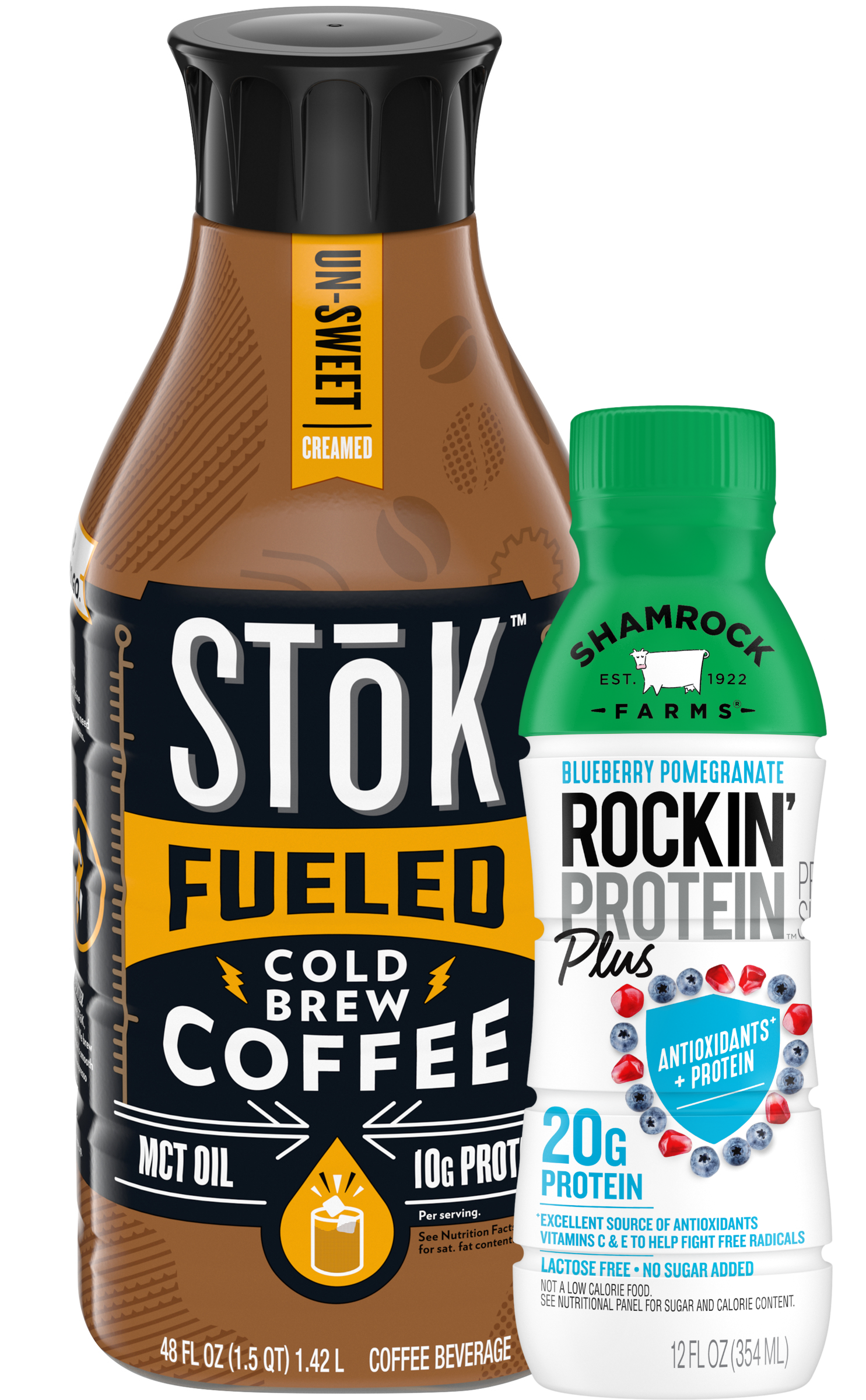 Stok Cold Brew and Shamrock Farms Rockin Protein