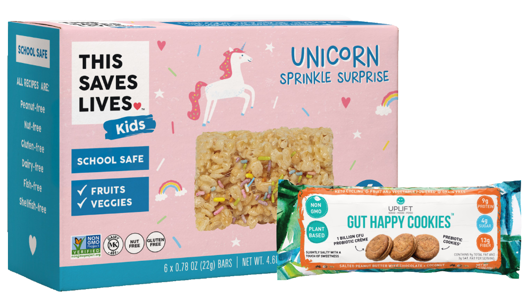 Uplift Foods' gut happy cookies and This Saves Lives' Kids Krispy Kritter Treats