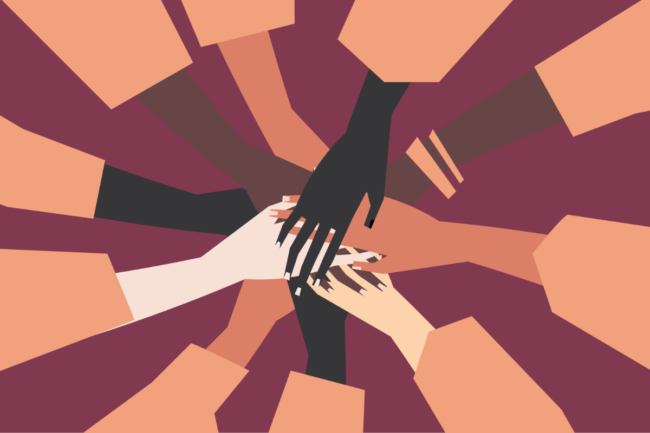 people's hands with different skin color together.