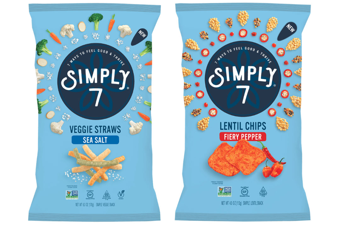 Simply 7 Snacks Sea Salt Veggie Straws and Fiery Pepper Lentil Chips