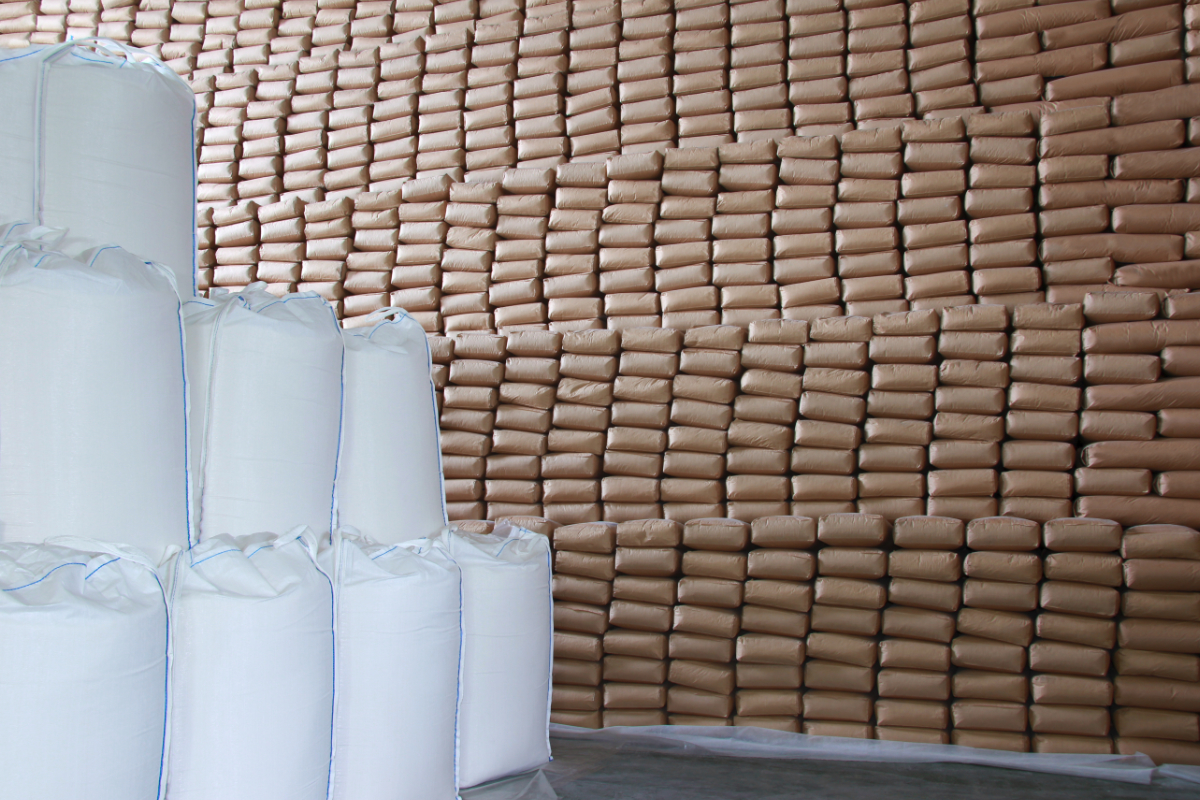 Sugar bags in warehouse