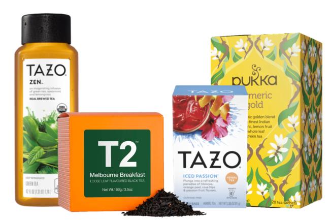 Tazo, Pukka Herbs and T2 tea products