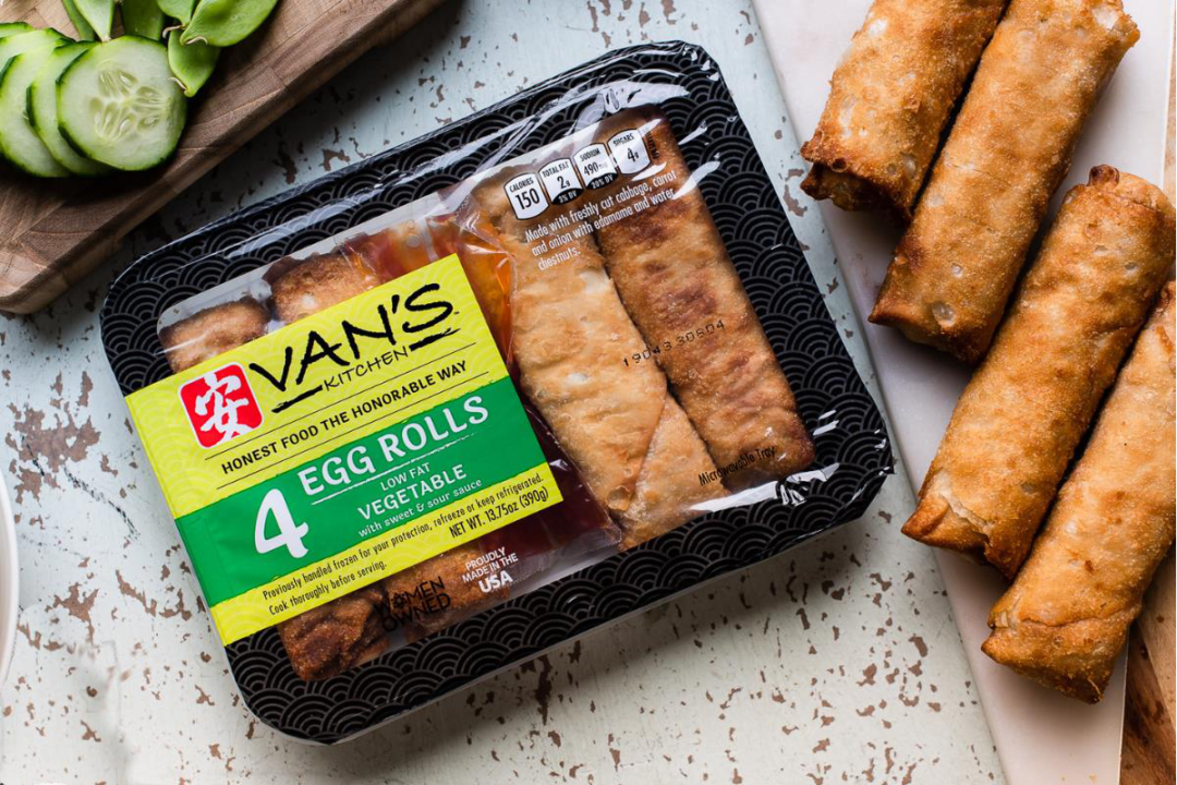 Van's kitchen low-fat refrigerated vegetable egg rolls
