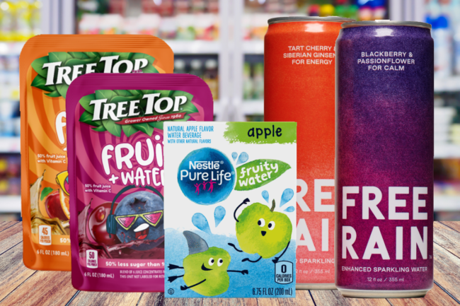 Nestle Pure Life Fruity Waters, Tree Top Fruit+Water beverages and Free Rain sparkling waters
