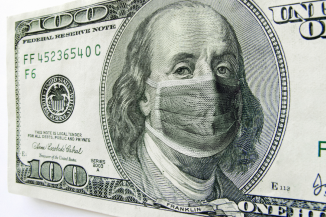 photo illustration of Ben Franklin wearing a healthcare surgical mask on a one hundred dollar bill