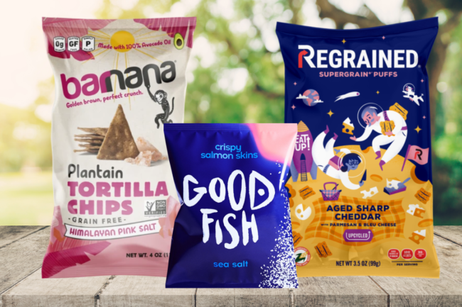 Barnana plantain tortilla chips, Goodfish salmon skins and Regrained puff snacks