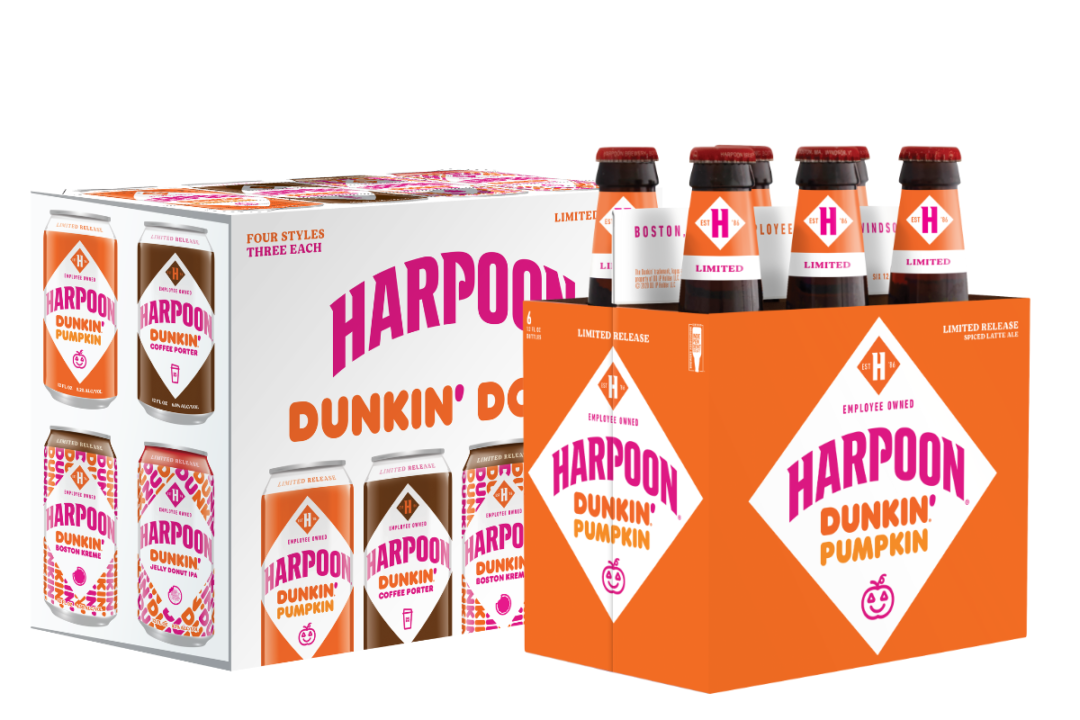 Dunkin' Harpoon beer bottles and cans