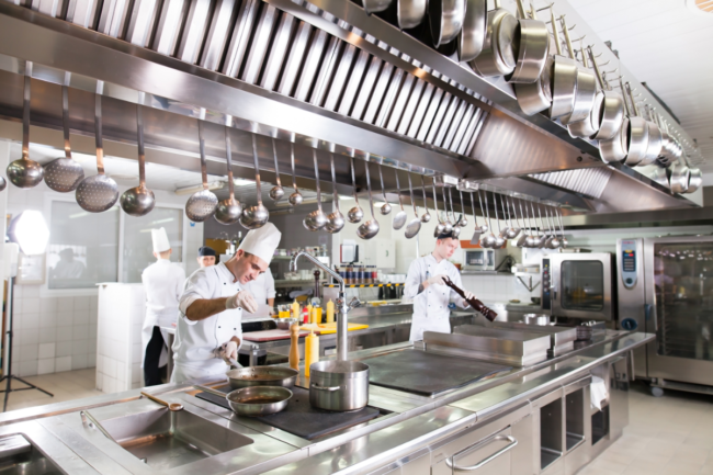 professional chefs in a foodservice kitchen