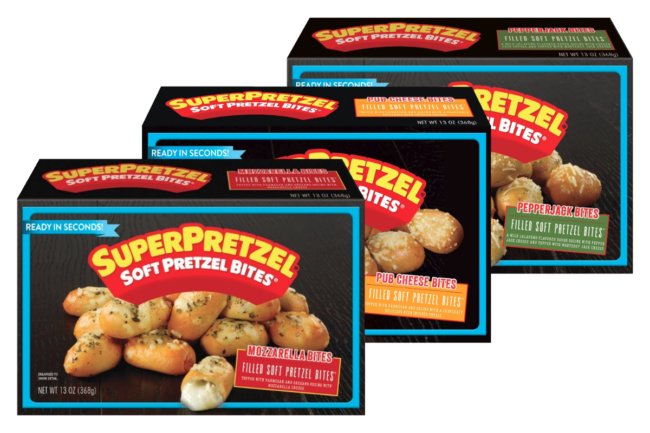 Superpretzels cheese-filled pretzel bites from J&J Snack Foods Corp.