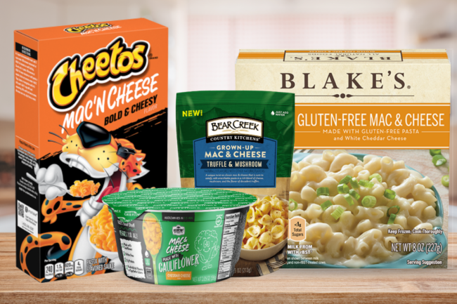 """Cheetos Mac 'n Cheese, Bear Creek Country Kitchens' """"grown up"""" mac and cheese, based East Howl Inc's v4egan mac and cheese and Veggie Craft's mac and cheese"""