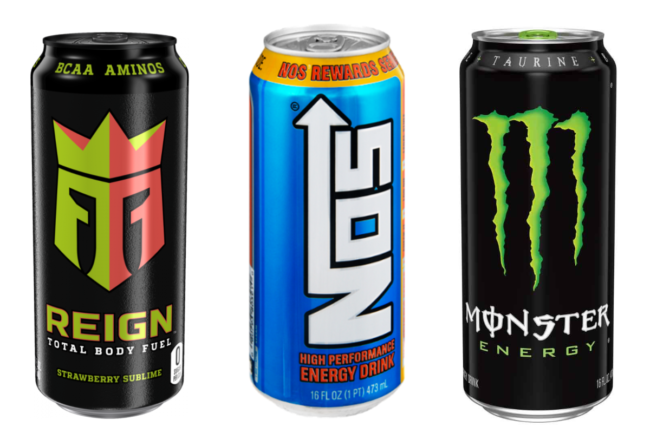 Monster Energy drink, NOS energy drink and Reign Total Body Fuel