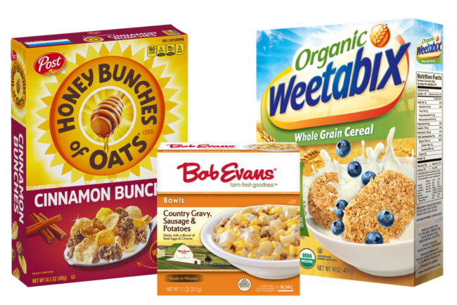 Post Holding's Honey Bunches of Oats cereal, Bob Evans country gravy, sausage and potato bowl and organic Weetabix whole grain cereal