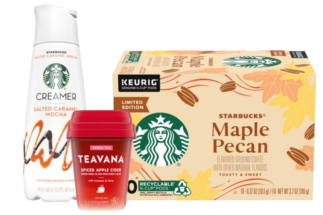 Starbucks' and Nestle's salted caramel mocha creamer, Spiced Apple Cider Teavana tea and Maple Pecan coffee