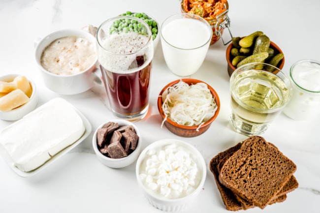 variety of fermented foods