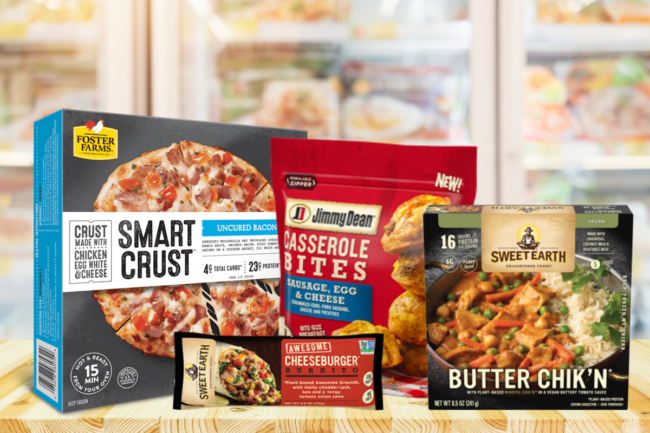 Foster Farms smart crust pizza, Jimmy Dean breakfast casserole bites, Sweet Earth Foods frozen entrees