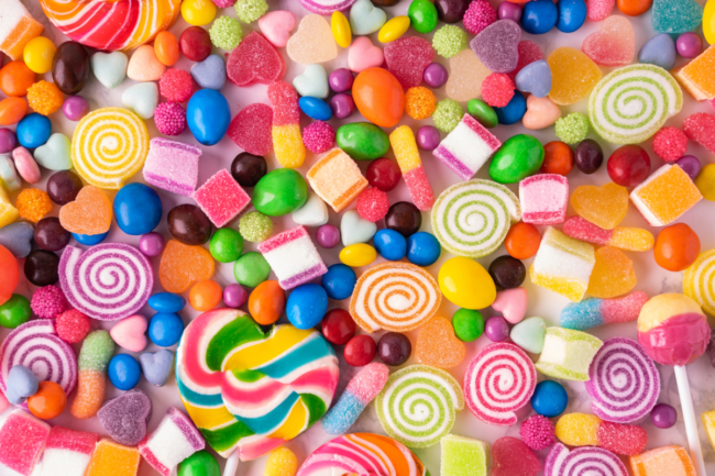 Brightly colored hard candy