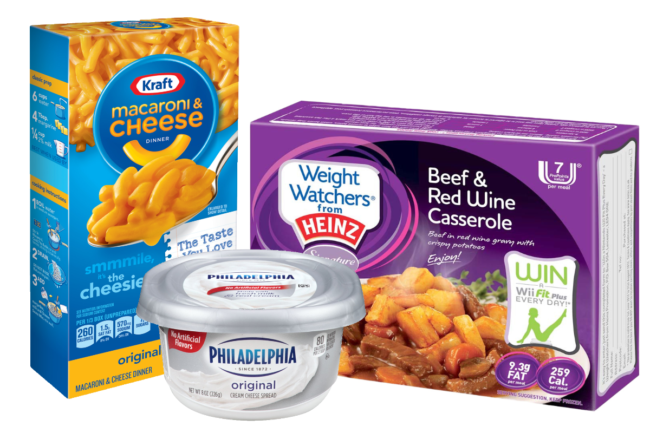 Kraft Heinz macorani and cheese, Philedelphia cream cheese and Weight Watchers frozen meals