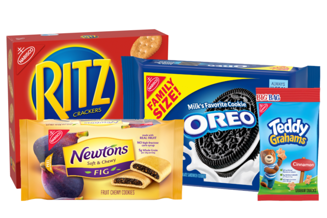 Ritz Crackers, Newton cookies, Oreo cookies and Teddy Graham biscuits