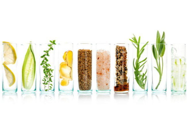 Clear glasses filled with plant-based clean label ingredients