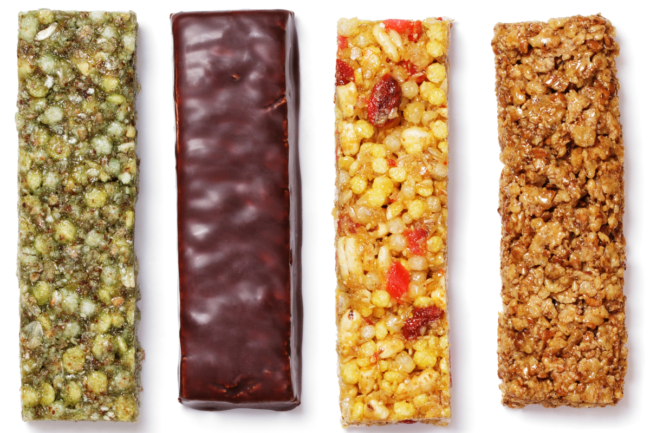 various plant-based protein nutrition snack bars