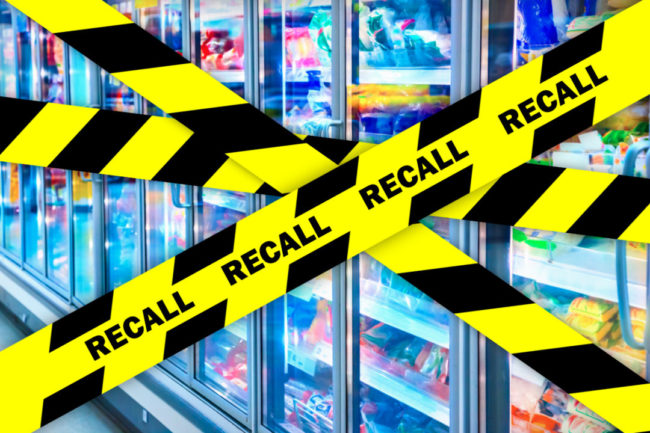 Recall tape over grocery store refrigerator