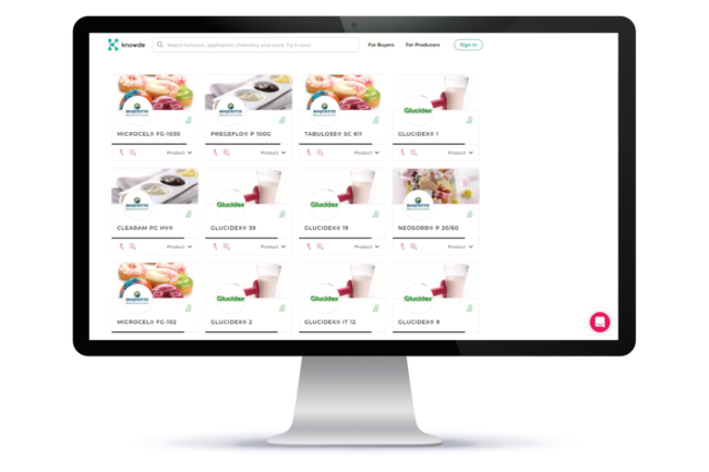 Roquette's digital marketplace home screen