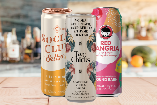 Social Club hard seltzer, Sparkling Vodka CuTea and Flavor Trip Canned Wine Cocktails
