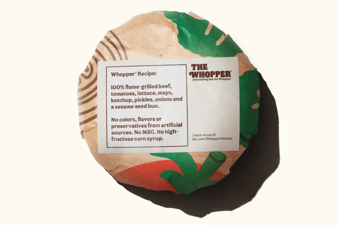 Burger King Whopper with no artificial colors, flavors and preservatives