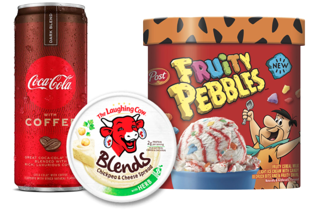 Coca-Cola with Coffee, The Laughing Cow Blends, Post Pebbles ice cream