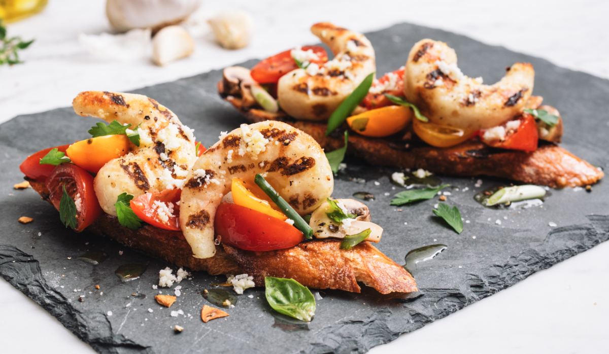 New Wave Foods plant-based shrimp bruschetta