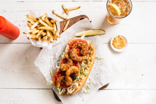 New Wave Foods plant-based shrimp Po Boy sandwich