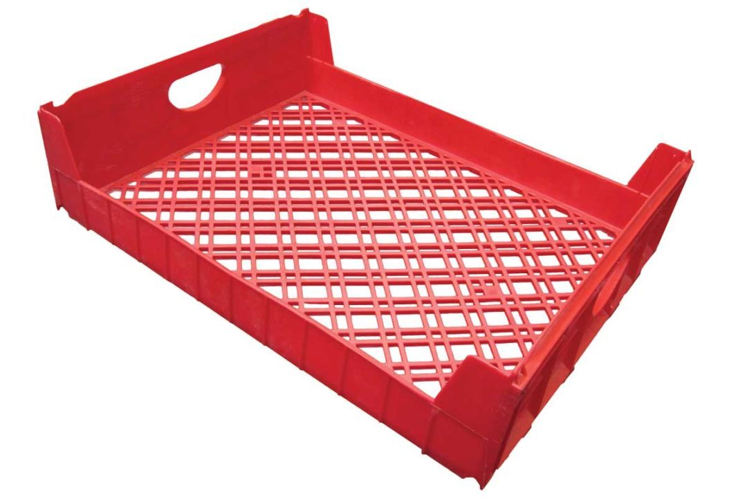 Red plastic tray