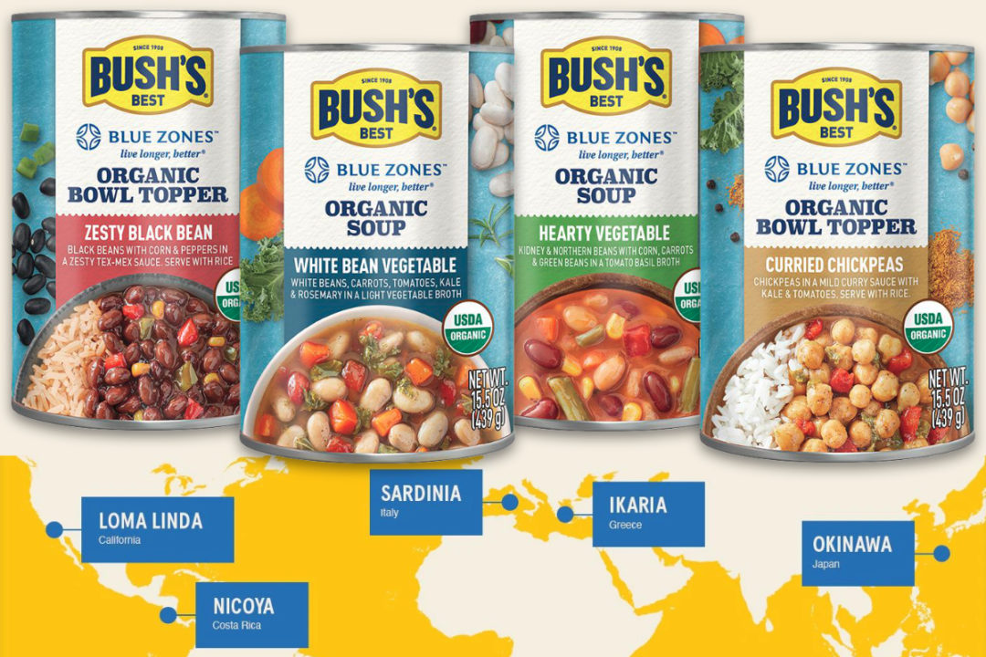 Bush's and Blue Zones organic bowl toppers and soups