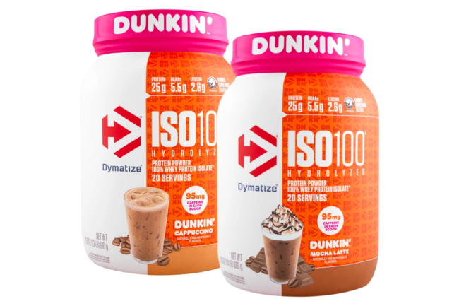 ISO100 protein powders in cappuccino and mocha latte flavors from Dymatize