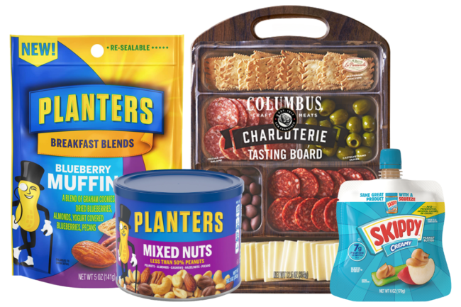 Planters nuts products, Skippy squeeze pouches and Columbus charcuterie from Hormel Foods
