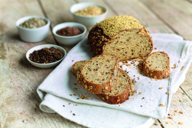 bread made with of seeds and ancient grains from Schobbers