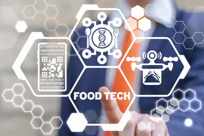 Food technology concept, touch screen with food tech button