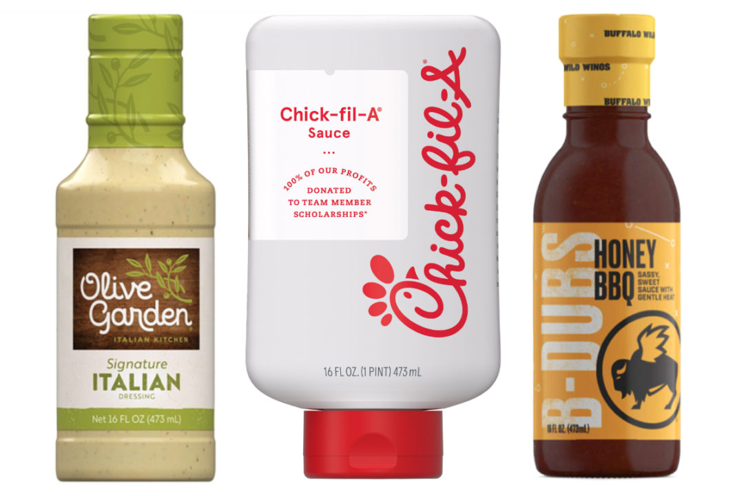 Olive Garden dressing, Chick-fil-A sauce and Buffalo Wild Wing sauce