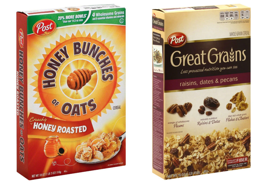 Post Honey Bunches of Oats and Great Grains cereals