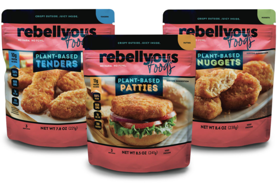 Rebellyous Foods plant-based tenders, patties and nuggets