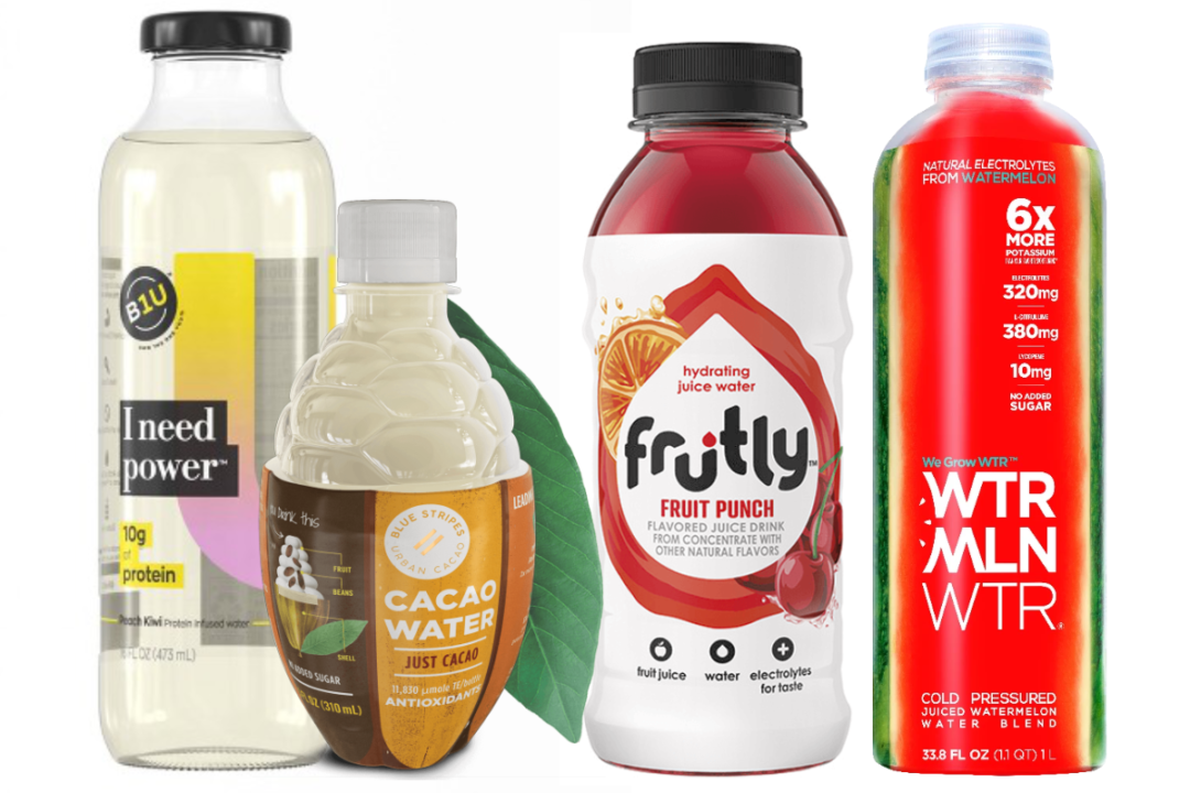 B1U beverage from Ocean Spray, Cacao Water from Blue Stripes Urban Cacao, Frutly beverage from PepsiCo, and WTRMLN WTR from Caribe Juice